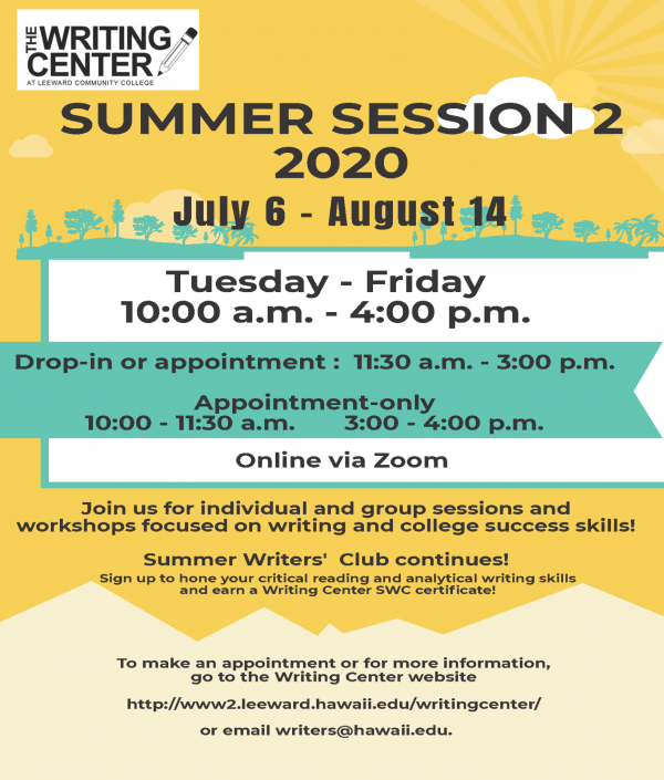 Writing Center's Summer Session 2 Services