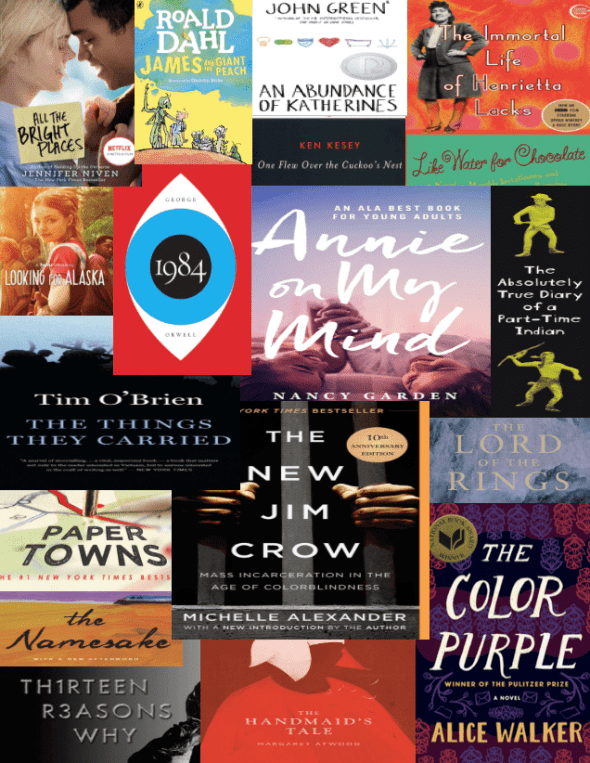 """""""Titles of 18 Banned Books Week ebooks available on OverDrive."""""""