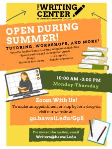 Writing Center - Summer Flyer